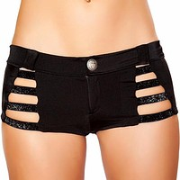 Black Shiny Strap Button Booty Shorts