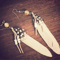 White Feather Earrings - Festival Fashion