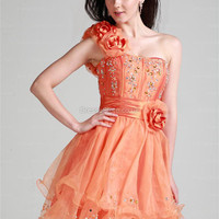 A-line One Shoulder Organza Short/Mini Orange Flowers Homecoming Dress at dressestore.co.uk
