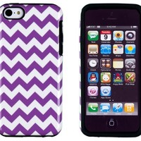 DandyCase 2in1 Hybrid High Impact Hard Purple & White Chevron Pattern + Silicone Case Cover For Apple iPhone 5C + DandyCase Screen Cleaner