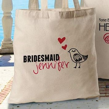 Personalized Bridesmaid Canvas Tote Bag