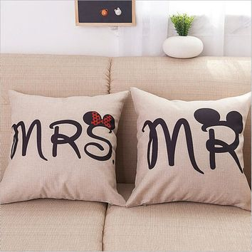 Mr & Mrs Mouse Letters Cushion Cover Throw Pillow Cover Cotton Linen Decorative Couple Lovers Cushion Covers Home Pillowslip