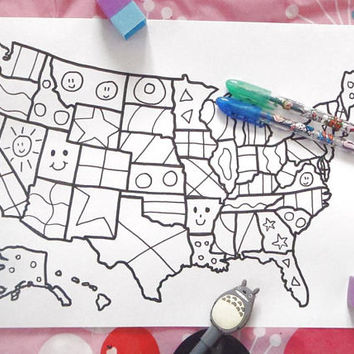 kids united states america map kids colouring etsy sales book download travel map art  home decor printable print digital lasoffittadiste