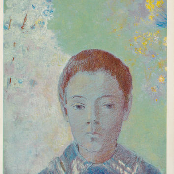 "Vintage Dutch Postcard -- Odilon Redon ""Portrait of Ari Redon"" -- 1980?"