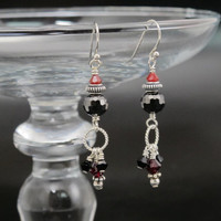 Earrings, Sterling Silver, red and black