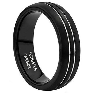 [Free Shipping] 8MM Black Duel Silver Stripe Tungsten Carbide Mens Wedding Band Ring