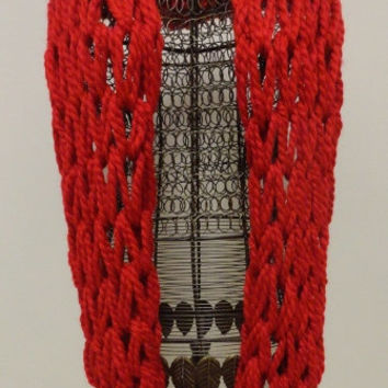Knit Infinity Scarf, Infinity Scarf, Knitted Infinity Scarf, Scarf, Red Chunky Arm Knit Infinity Scarf, Arm Knit Eternity Scarf