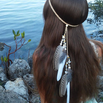 Native American Style Feather Headband White Headpiece