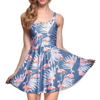 Flamingo and Palm Leaves All Over Print Sleeveless Skater Dress in Blue