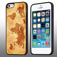 DCD - World Map Vintage Custom Case for Iphone 4 4s 5 5c 6 6plus (Iphone 6plus black)