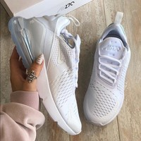 Nike Air Max 270 Triple White Women The Air Cushion Shoes