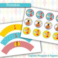 Personalized Cupcake Wrappers & Toppers |  Fisher Price 1st Birthday Circus/Carnival Birthday Party Decorations, Printable, DIY