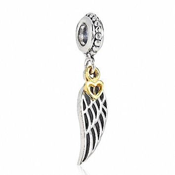 Angel Wing Charms 925 Sterling Silver Feather Pendant with Gold Plated Heart Charm for Bracelet