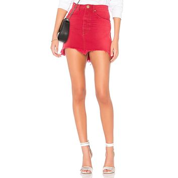 One Teaspoon Vanguard High Waist Denim Skirt Red Envy