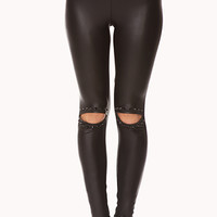 Edgy Spiked Faux Leather Leggings
