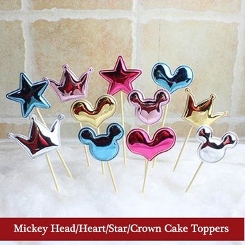 5Pcs/Lot Blue Mickey Mouse Cupcake Toppers Birthday Party Decorations Baby Shower Children's Party Supplies Cake Toppers Set