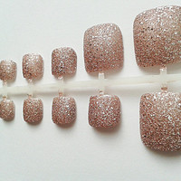 Pink Glitter Fake Toe Nails , Hand Painted False Toenails , Artificial Nail Set