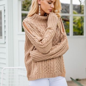 Open Slit Shoulder Cable Knit Sweater