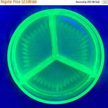 ON SALE - Vaseline Glass Dish, Vintage Uranium Green Divided Relish, Candy or Nut Tray