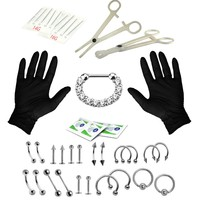 BodyJ4You Body Piercing Kit Professional 16G, 14G Septum Clicker Tongue Eyebrow Nipple Lip Nose 36 Pieces