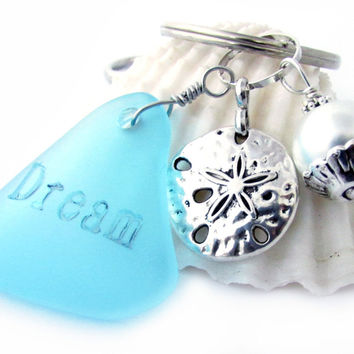 Beach Glass Keychain and Dream Seaglass Quote
