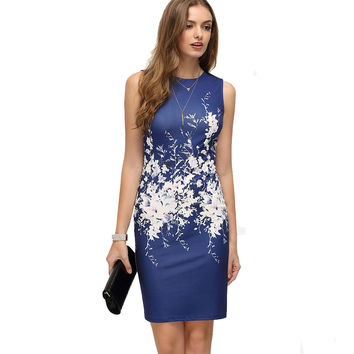 Vintage Floral Print Blue Sleeveless Pencil Bodycon Dress 2017 New Brand Work Wear For Woman Busniess Party Elegant Dress