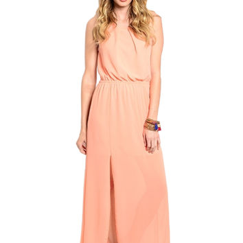 Sleeveless Chiffon Maxi Dress W/ Back Cutout