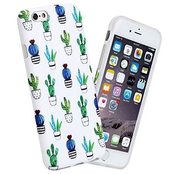 """iPhone 6 case, 4.7"""" Ultra Thin Anti-Scratch Shock Proof Anti-Finger Flexible Soft TPU Case For iPhone 6 & iPhone 6S, White Marble Design (Cactus)"""