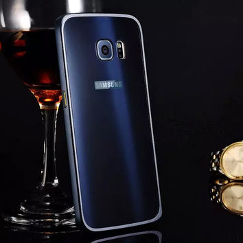 For Samsung Galaxy Phone Ultra-thin Aluminum Metal Bumper PC Back Case Cover