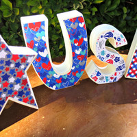 USA / 4th of July / Wood Letter Home decoration with Star
