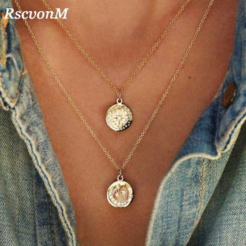 Gold Chain Star Moon Sun Choker Necklace for Women Crystal Coin Chocker colar necklaces pendants collier femme collares kolye