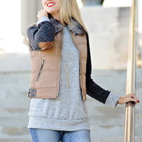 * Avery Camel Puffer Vest with Fur Collar