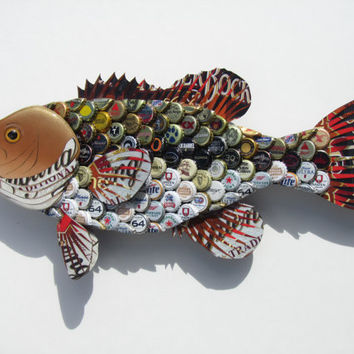 Metal Bottle Cap Wall Art - Large Mouth Bass with Mixed Beer Bottlecaps