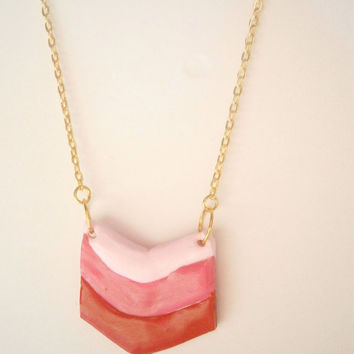 Chevron Necklace - Pink and Red Ombre Jewelry - Polymer Clay Jewellery - Minimalist Necklace - Geometric Necklaces - Triple Chevron Necklace