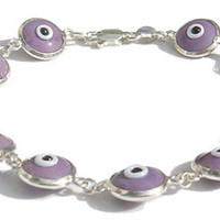 Evil Eye Light Purple Silver Bracelet