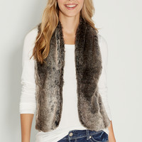 faux fur vest with sweater knit back