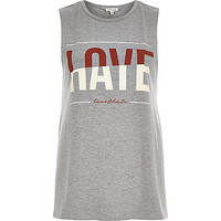 River Island Womens Grey love hate print tank top