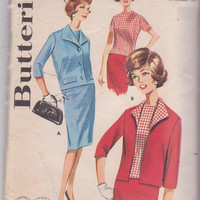 60s vintage pattern for 3 pc suit: jacket, straight skirt, short sleeved top misses size 12 bust 32 Butterick 2178 CUT and COMPLETE