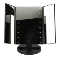 Portable Three Folding Table LED Lamp Mirror