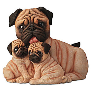 """Pug Kisses"" Mama And Puppies Lifelike Sculpture"