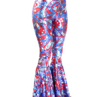 Flared Bell Bottom High Waist Leggings in Holographic Patriotic Swirl Print
