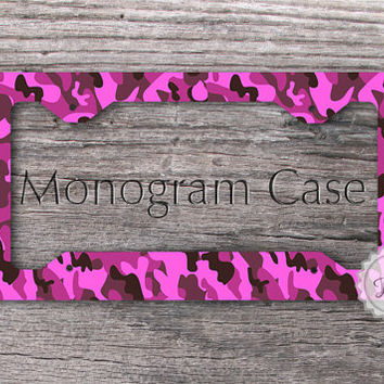 license plate frame pink and hot pink camo auto plate frame custom cat tag