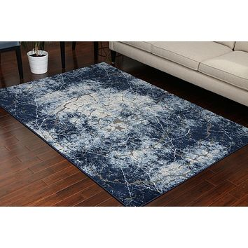 5603 Blue Carved 3D Design Contemporary Area Rugs
