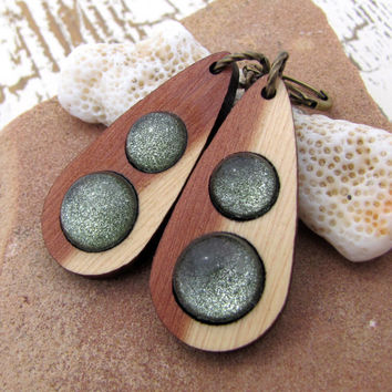Wooden Sparkle Earrings - Zombie Green in Two Toned Cedar Wood Antiqued Brass Dangles