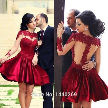 2016 New Short Prom Dresses Full Sleeves Sheer Bodice Cocktail Party Gowns Red Prom Dresses Short