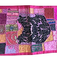 Indian Pink Vintage Throw Kutch Embroidered Tapestry Wall Throw