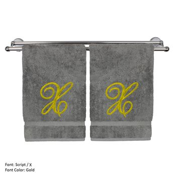 Monogrammed Hand Towel, Personalized Gift, 16 x 30 Inches - Set of 2 - Gold Embroidered Towel - Extra Absorbent 100% Turkish Cotton - Soft Terry Finish - For Bathroom, Kitchen and Spa - Script X Gray