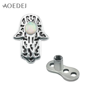 AOEDEJ Hamsa Fatima Hand Dermal Anchor Piercing Jewelry Surgical Steel Fire Opal Natural Stone Skin Retainers Hide It Jewelry