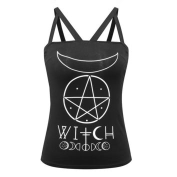 Gothic Girl Black Strappy Cotton Tank Top Letter WITCH Gothic Symbol Moon Pentagram Print Backless Feminino Sexy Camis Black