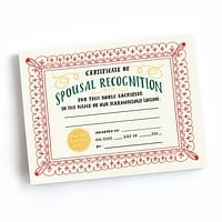 Certificate of Spousal Recognition Tear-Off Certificate Pad - 75 Awards